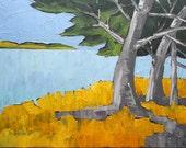 Impressionist Painting Plein Air Landscape CALIFORNIA Carmel Monterey Bay Ocean Seascape Lynne French 16x20