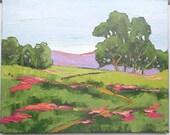 Impressionist Painting Plein Air Landscape CALIFORNIA Wildflowers Hills Oak Trees Lynne French 16x20