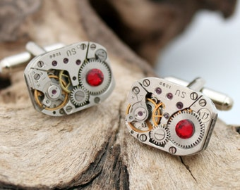 Steampunk watch movement cuff links with red Swarovski crystal rhinestone- polished matching pair- Unisex gift for him or her