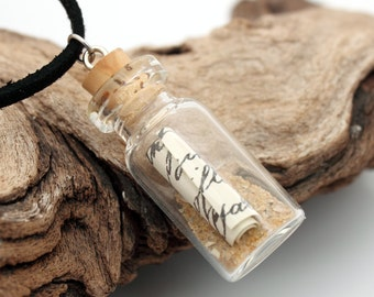 Message in a bottle steampunk style glass vial pendant with beach sand and scroll- faux Victorian message- Great Christmas stocking stuffer