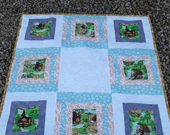 Baby Shower Gift, Handmade Baby Blanket Quilt, Bears and Pigs Quilt, Nursery Rhymes Baby Blanket, Boy or Girl Quilt, Quilted Baby Blanket