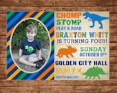 Boy Photo Picture Dinosaur Dino Typography Birthday Party Invitation - DIGITAL FILE