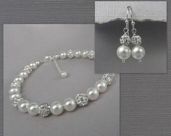 White Pearl Wedding Bracelet, Bridesmaid Bracelet and Earring Set, Bridesmaid Jewelry, Bridesmaid Gift Jewelry Set, White Pearl Jewelry Set