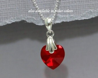 Tiny Red Heart Flower Girl Necklace, Red Flower Girl Jewelry, Red Heart Necklace, Sterling Silver Necklace, Flower Girl Gift, Gift for Her