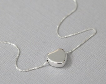 Sterling Silver Heart Necklace, Personalized Bridesmaid Gift, Bridesmaid Necklace, Heart Necklace, Gift for Her, Girlfriend Gift