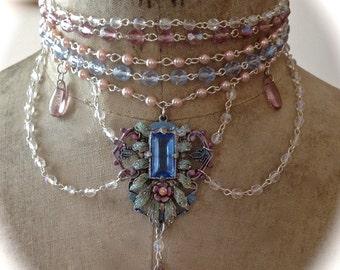 Aurora Borealis LavenderBlue Crystal and  Pearl  Marie Antoinette Choker set