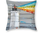Lighthouse rainbow rays throw ART PILLOW, home decor pillow, housewares, summer gift, christmas gift, mixed media collage