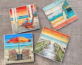 TILE DRINK COASTERS - Set of 4 - Beach Umbrella Chairs Front Porch Dock Sailboat art home decor coastal summer housewarming hostess gift