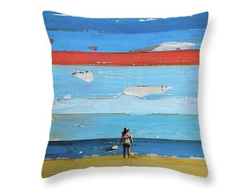 Child standing at the beach throw ART PILLOW, home decor pillow, housewares, summer gift, christmas gift, mixed media collage