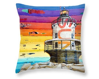 Lighthouse Coastal  throw ART PILLOW, Portland Maine, home decor pillow, housewares, summer gift for her, Christmas gift, coastal decor gift