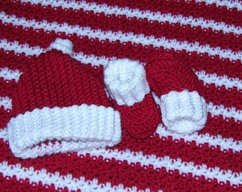 Red and White blanket cap and booties set