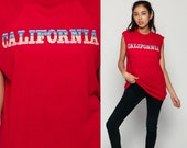 California Tank Top Graphic Shirt Vintage 80s Retro Tee Screen Print Rainbow Surfer Sleeveless Hipster 1980s Travel Red Cut Off Large