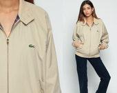 Lacoste Jacket 80s Khaki Windbreaker Bomber Jacket PLAID LINED Crocodile Raglan Sleeve Hipster Coat Vintage 1980s Medium
