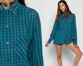 Oversized Flannel Shirt 80s Plaid Shirt Blue Green Pink 90s Grunge Vintage Button Down up Lumberjack Long Sleeve Oxford Retro Small Medium