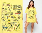 California T Shirt 80s Graphic Tshirt 90s State MAP Flag Print Vintage Hipster 1980s Retro Tee Yellow Cali Hollywood Extra Large XL