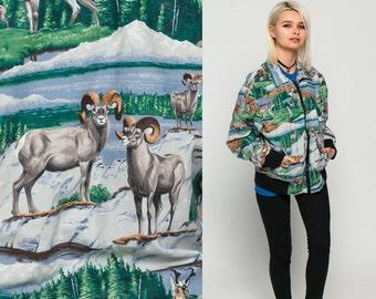 Animal Jacket WOLF SHEEP DEER Windbreaker Retro Track Jacket 80s Bear Novelty Print Zip Up 1980s Vintage Sports Hippie extra Large xl
