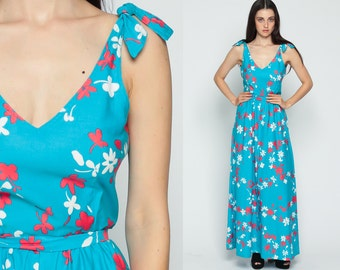 70s Maxi Dress Sundress Blue Boho FLORAL Print V Neck Back Hippie 1970s High Waisted Vintage Sun Dress Tie Shoulder Bohemian Extra Small xs