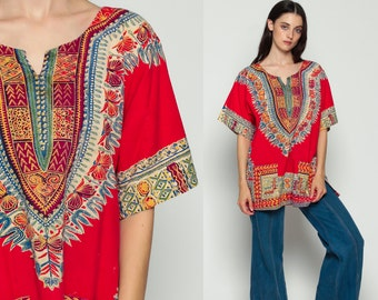 Dashiki Top 70s Tunic Top Boho Shirt Ethnic Blouse 1970s Hippie Cotton African Bohemian Short Sleeve Vintage Red Festival Small Medium Large