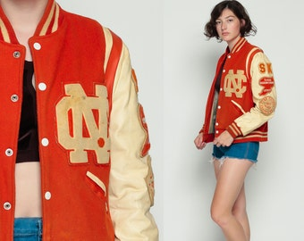 Letterman Jacket 70s WOOL Coat Baseball Varsity Faux Leather North Cobb High School Sport Orange Vintage Retro Preppy Grease Medium large
