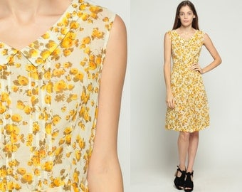 60s Floral Dress Peter Pan Collar Midi PLEATED Mad Men 1960s COTTON Day Yellow Vintage Sheer High Waist Garden Party Sleeveless Large
