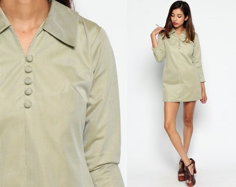 70s Mini Dress 60s Shift Mod Button Up Mini PINSTRIPE Collared Striped Long Sleeve Vintage 1970s Twiggy Gogo Sixties Small Medium