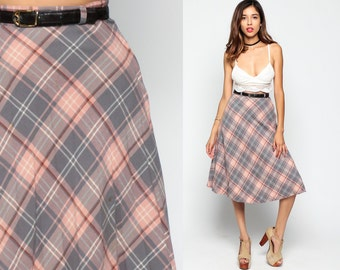 Plaid Skirt School Girl Midi High Waisted 70s Mod Preppy Checkered PLEATED Pink Grey Tartan Retro Vintage 1970s Extra Small XS Small