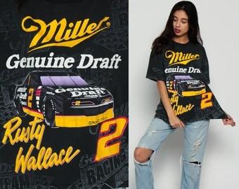 Miller Beer Shirt GENUINE DRAFT Nascar Shirt Race Car Shirt Rusty Wallace 80s Tshirt Beer Car Racing Tee 1980s T Shirt Black Large