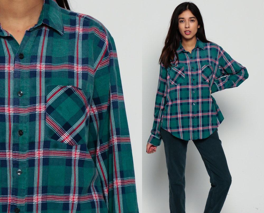 Green flannel shirt 90s plaid grunge lumberjack navy blue red for Navy blue and red flannel shirt