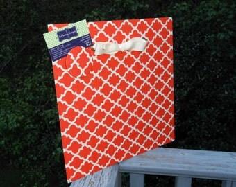 "Engagement Gift Idea, Photo Board,  Magnetic Board, Tangerine Orange Quartrefoil Fabric, Magnet Memory Board, (12"" x 12"")"