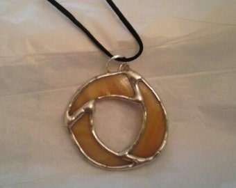 Stained Glass Gold Circle Pendant