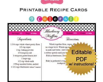 DIY editable printable recipe cards PDF Quatrefol in 9 colors Digital File 4x6 inches turquoise pink black red purple blue (No.6)