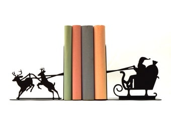 Santa's Sleigh Metal Art Bookends - Free USA Shipping