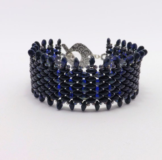 Dark Blue and Picasso Finished Cobalt Blue Fringe Beaded Bracelet - 7 1/2 inch wrist Sku: BR1017