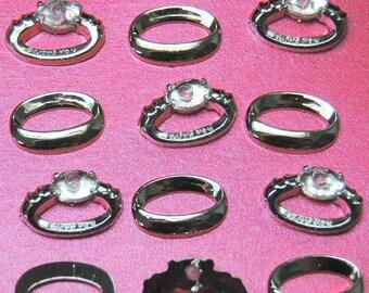 WEDDING RINGS - Engagement Silver White Gold Diamond Dress It Up Embellishments