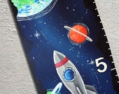 Canvas Custom Growth Chart Outer Space Solar System Moon and Stars