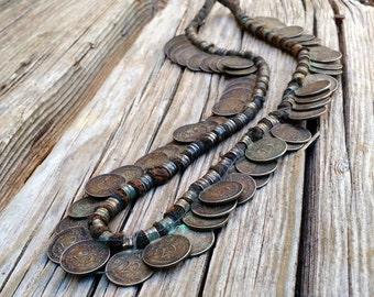 Primitive Tribal Coin Necklace Nepalese Rana Tharu Limbu Nepal India