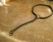 """28"""" long Chainmail Choke Chain, leash, 28"""" Full Persian weave made with gunmetal rings, o-ring with a pair of handcuff charms"""