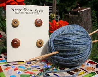 4 Mixed Wood Buttons- in Reclaimed Woods- Eco Knitting Supplies, Sewing Supplies, Craft Buttons- Eco Craft Supplies