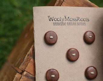 5 Black Walnut Wood Buttons- Handmade Wooden Buttons- Eco Knitting Supplies, Eco Craft Supplies