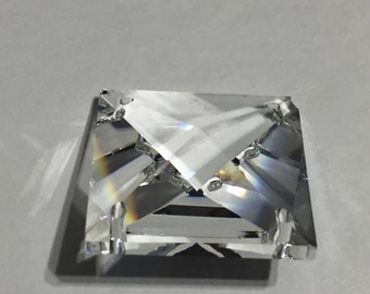 1- 28mm Clear Square  Chandelier Crystals 4 Hole Connectors FULL LEAD Crystal (S-6)