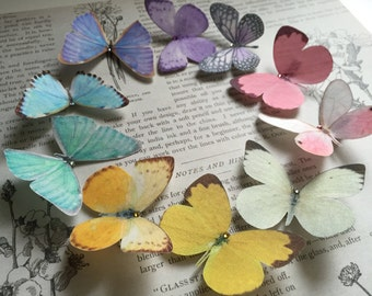 Pastel Silk Butterfly Hair Clips, perfect for a spring wedding!Set of 10 with Swarovski Crystals