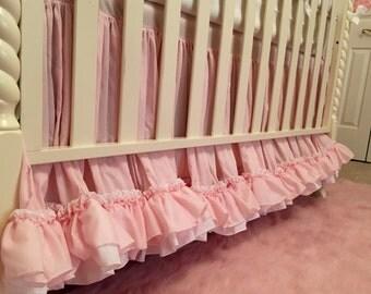 Blush Pink and White Double Ruffle Crib Skirt