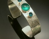 Sterling Silver Embossed Aqua Blue Epoxy Bracelet-Free US Standard Shipping