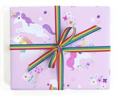 Wrapping Paper Unicorn and Rainbow Gift Wrap - Birthday wrapping paper