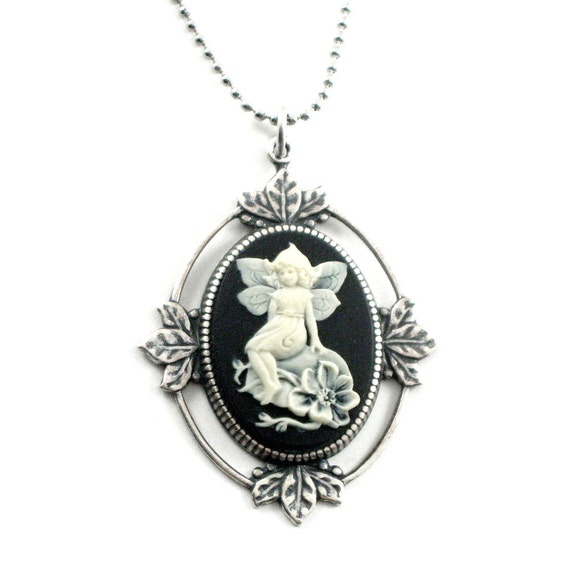ON SALE The Dream Fairy SMALL Version - Cameo Necklace in Cream on Black with Antiqued Sterling Silver Plated Leaf Setting - By Ghostlove