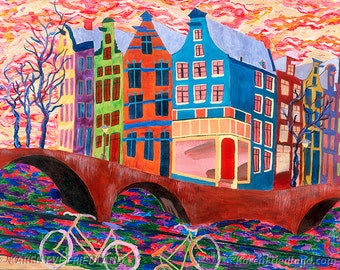 Large GICLEE ART PRINT on Canvas or Paper Modern Cityscape By Canal Amsterdam Bridge Colorful WallArt Interior Decor Original Painting Repro