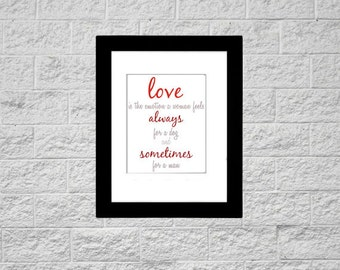 8x10 Print Love Always For A Dog Printable Art, Instant Download, Printable Typography Quote, Art Print