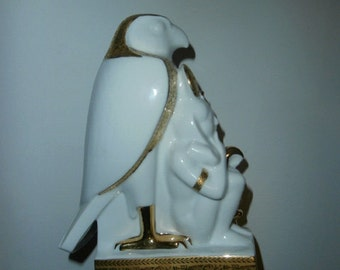 Falcon White Porcelain Figurine KM Egyptian Pharaohs Falcon 24k Gold Plated Figurine stamped Egypt  Sculpture