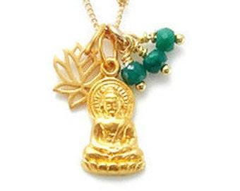 Unique Buddha Necklace | Lotus Charm | Emerald Gemstones | Enlightenment | Yoga Jewelry | Lotus jewelry |  Boho Jewelry | Meaningful Jewelry