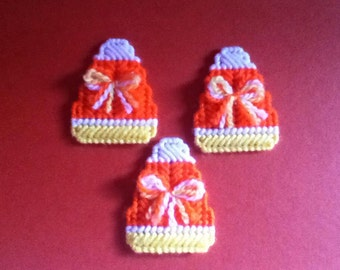 3 Handmade Candy Corn with Bows Magnets Plastic Canvas